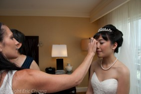 Hair and bridal makeup on pretty asian bride