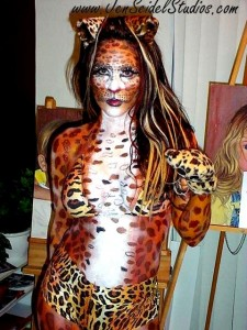Jen first body painted herself as a Cheetah.